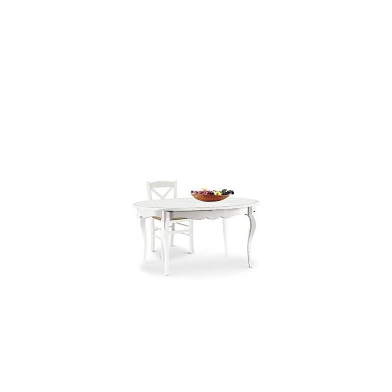 Offerte Tavoli Allungabili Legno.Tavolo Ovale Allungabile In Legno Bianco Opaco Nuovo Art 1289