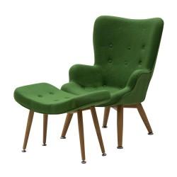 Poltrona Rivestita in Tessuto Verde con Pouf nuova art.LF491 consegna gratuita-arredamentishop.it   Offerte mobili 250,00€ 2...