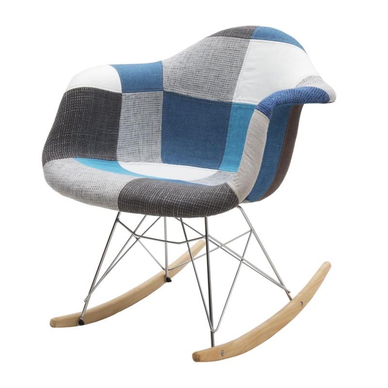 Sedia A Dondolo Tessuto.Sedia A Dondolo Patchwork Tessuto Blu Grigio Nuova Art Lf660