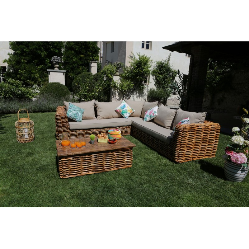 Salotto rattan angolare da giardino nuovo art.2612060000 consegna  gratis-arredamentishop.it