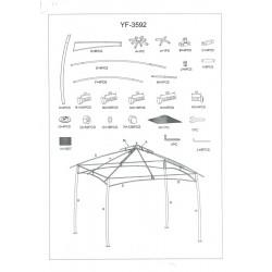 Offerta gazebo 3x3 mt bianco/grigio con teli ombreggianti nuovo art. 7403450000 consegna gratuita-arredamentishop.it   Offert...