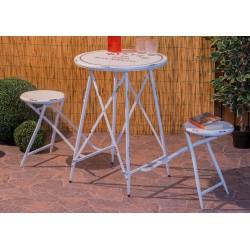 Tavolini con sgabelli art.60209 nuovo colore bianco invecchiato consegna gratuita-arredamentishop.it   Offerte mobili 165,00...