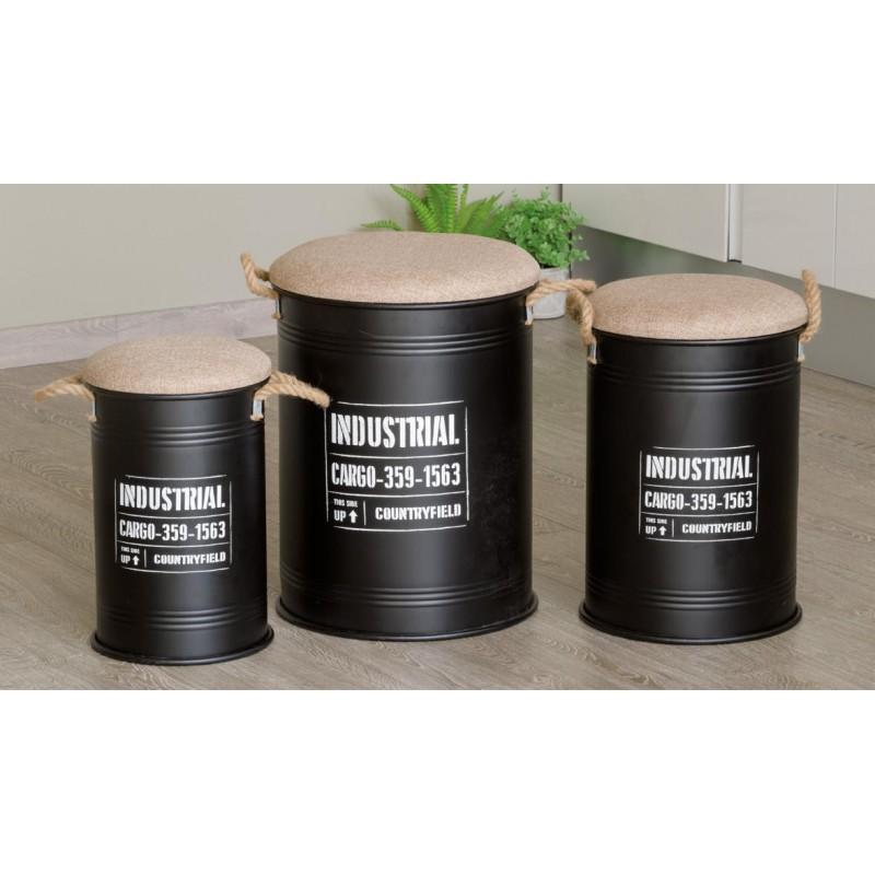 Set pouf contenitore industrial 3 pezzi nuovo art.60198 consegna gratuita-arredamentishop.it   Offerte mobili 115,00€ 115,00...