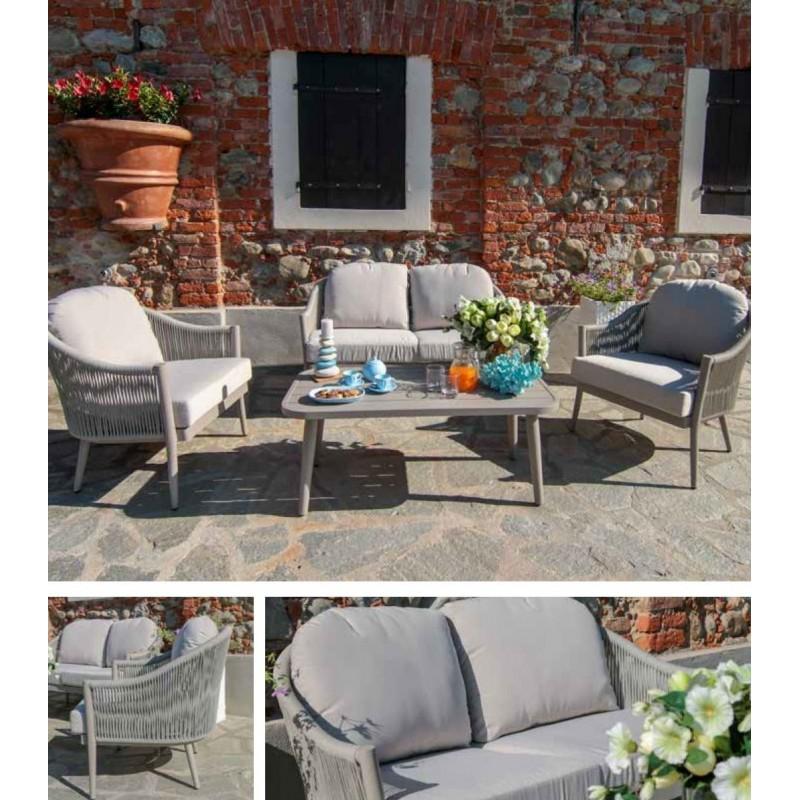 Arredo giardino salotto esterno alluminio corda nuovo art.6451470000 consegna gratuita-arredamentishop.it  Vacchetti Offerte ...