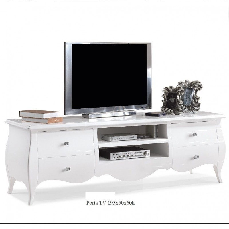 Porta Tv Bianco Lucido Nuovo Art 482 Consegna Gratuita Arredamentishop It